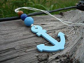 Dekorácie - Závesná dekorácia..námornická kotva modrá svetlá - 8419573_