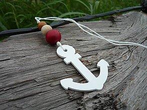 Dekorácie - Závesná dekorácia..námornická kotva biela - 8419589_