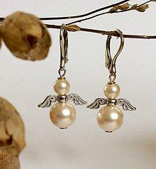 Náušnice - Swarovski perlové náušnice Anjel - 8419972_