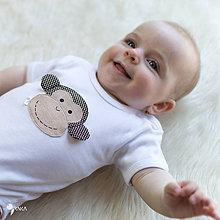 Detské oblečenie - body OPICA (dlhý/krátky rukáv) - 8420820_