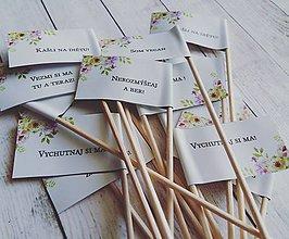 Darčeky pre svadobčanov - Vtipné tematicke vlajocky do zákuskov - 8420804_