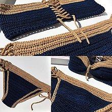 Bielizeň/Plavky - plavky tmavomodro-zlaté - 8420210_