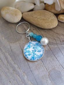 Kľúčenky - Kľúčenka folk -kvety modrobiele 2 - 8422374_