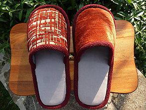 Obuv - Šedé papuče s červeným vrchom - 8421733_