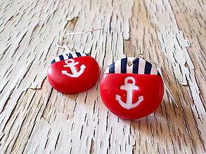 Náušnice - námornícke krúžky s kotvičkou - 8422287_