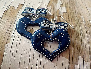 Náušnice - FOLKLÓRNE modré náušnice s mašličkou - 8422378_