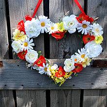 Dekorácie - ZĽAVA 15% Závesné srdce letné, lúčne, folklórne - 8425235_