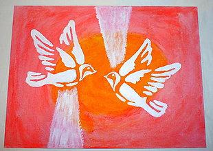 Obrazy - Biele holubice - 8425727_