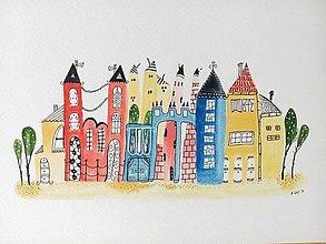Obrazy - Mesto 12 - ilustrácia obraz / originál maľba - 8423478_