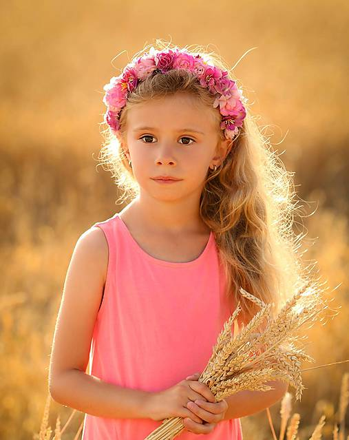 Ozdoby do vlasov - Kvetinová ružičková čelenka - 8423973_