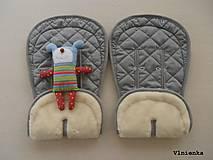 Textil - Bugaboo Donkey Twin grey seat liners / podložky pre dvojičky 100% MERINO wool na mieru - 8425820_