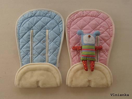 Bugaboo Donkey Twin seat liners soft pink and ice blue/ podložky pre dvojičky 100% MERINO pastelová ružová a bledomodrá