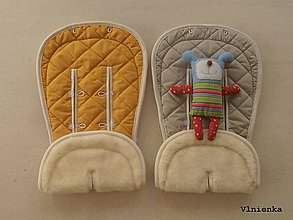 Textil - Bugaboo Donkey Twin seat liners Sand and Sunrise Yellow/ podložky pre dvojičky 100% MERINO pastelová žltá a béžová - 8425845_