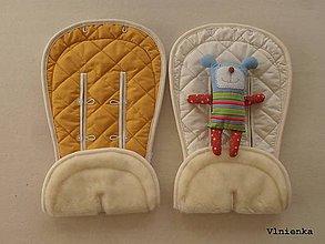 Textil - Bugaboo Donkey Twin seat liners Off White and Sunrise Yellow/ podložky pre dvojičky 100% MERINO pastelová žltá a smotanová - 8425856_