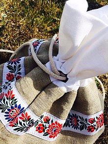 Úžitkový textil - Ľanové vrecko na pečivo s čipkou - 8424915_