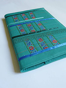 Papiernictvo - Obal na zápisnik A5 - folk smaragdový - 8422565_