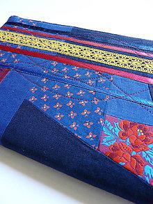 Papiernictvo - Obal na zápisnik A5 - folk fialová-žltá-modrá - 8422570_