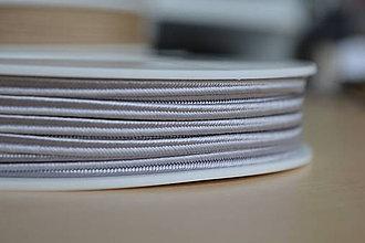 Galantéria - Šujtášová šnúrka svadobná strieborná 3mm, 0.25€/meter - 8423919_