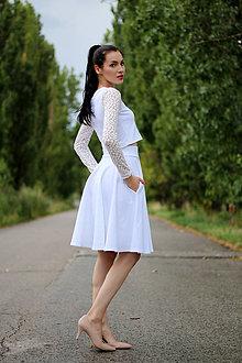Šaty - Biely komplet s tylovými rukávmi - 8426018_