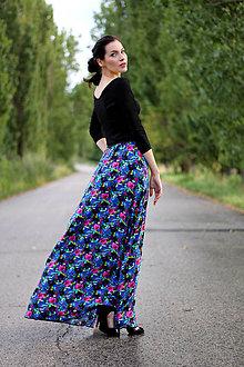 Sukne - Dlhá sukňa s kvetinkami - 8426042_