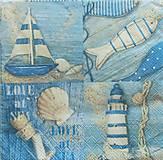 - S1036 - Servítky - loďka, more, ryba, sea, love, maják - 8427403_