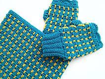 Šály - Modrý set s kvapkami žltej - VÝPREDAJ - 8426959_