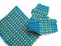 Šály - Modrý set s kvapkami žltej - VÝPREDAJ - 8426960_
