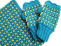 Šály - Modrý set s kvapkami žltej - VÝPREDAJ - 8426964_