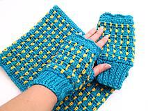 Šály - Modrý set s kvapkami žltej - VÝPREDAJ - 8426966_