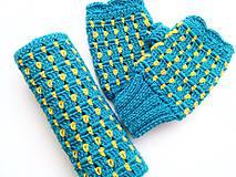 Šály - Modrý set s kvapkami žltej - VÝPREDAJ - 8426967_