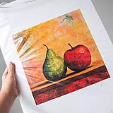 - Print A3 na papieri A2 z originál obrazu Hruška a Jablko - 8426743_