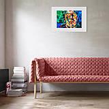 Grafika - Print A3 na papieri A2 (v ráme) z originál obrazu Abstraktný portrét VIII. - 8426817_