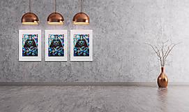 Grafika - Print A3 na papieri A2 (v ráme) z originál obrazu Darth Vader II. - 8426838_