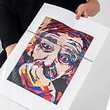 Grafika - Print A3 na papieri A2 (v ráme) z originál obrazu  Abstraktný portrét I. - 8426970_