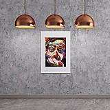 Grafika - Print A3 na papieri A2 (v ráme) z originál obrazu  Abstraktný portrét II. - 8426973_