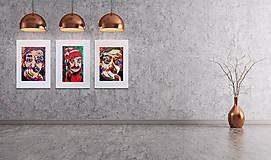 Grafika - Print A3 na papieri A2 (v ráme) z originál obrazu  Abstraktný portrét II. - 8426974_
