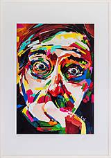 Grafika - Print A3 na papieri A2 (v ráme) z originál obrazu  Abstraktný portrét II. - 8426975_