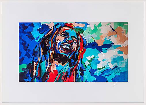 Print A3 na papieri A2 z originál obrazu Bob Marley