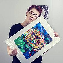 Grafika - Print A3 na papieri A2 z originál obrazu Abstraktný portrét VIII. - 8426818_