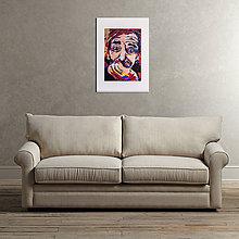 Grafika - Print A3 na papieri A2 (v ráme) z originál obrazu  Abstraktný portrét I. - 8426972_