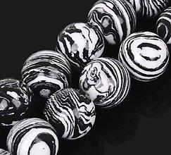 Minerály - Korálka - syntetický malachyt čierno biely - 8427489_