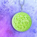 Náhrdelníky - Zelená planétka - náhrdelník malý dlouhý - 8427876_