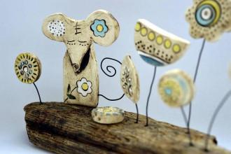Socha - Keramická dekorácia Myška na lúke - 8427548_