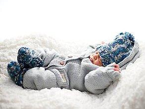 Detské oblečenie - Pletený overal... (Pletený overal 3-6 mesiacov) - 8427204_