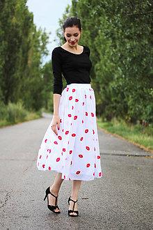 Sukne - Midi šifónová sukňa pusinky - 8428864_