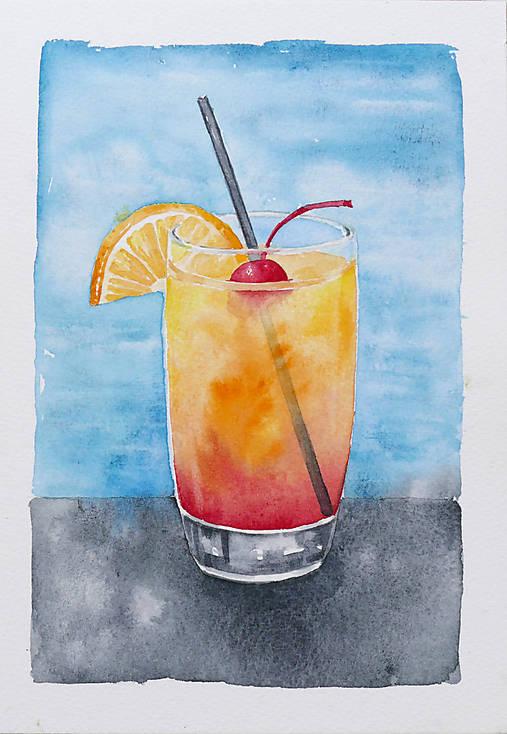 Pohár s nápojom - akvarel