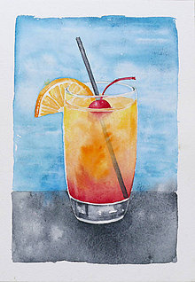 Obrazy - Pohár s nápojom - akvarel - 8428879_