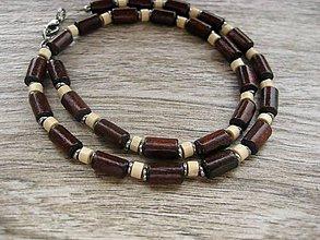 Šperky - Pánsky náhrdelník okolo krku drevený - chirurgická oceľ (tmavý - CHIRURGICKÁ OCEĽ č.1139) - 8429195_