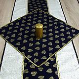 - Zlaté srdiečka na modrej - obrus štvorec 45x45 - 8430381_
