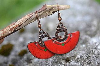 Náušnice - rudé s tečkou - 8430276_